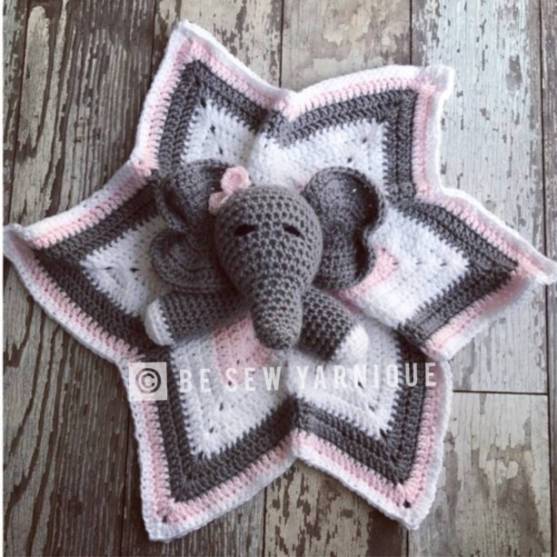 Amazon.com: Crochet Elephant Lovey, Security Blanket, baby shower ... | 613x613