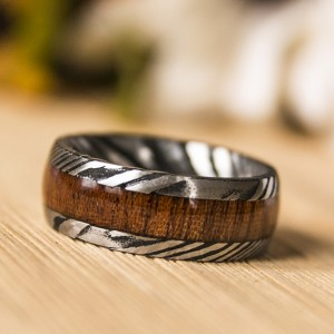 8mm Mens Wedding Band Koa Wood Inlay Damascus Steel Pattern Ring