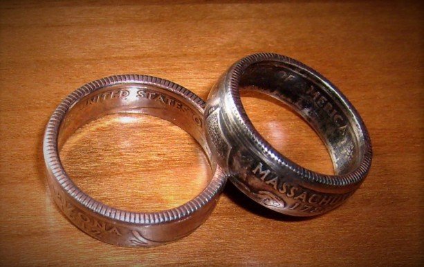 State quarter coin ring - clad
