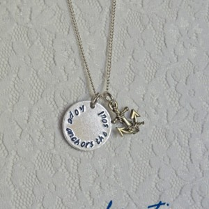Hope Anchors the Soul Necklace - Hand Stamped, Anchor, Nautical, Inspiring, Thoughtful, Empowering, Handmade, kreative studios, Jewelry