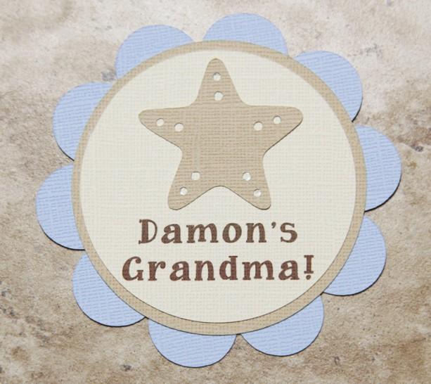 Seashell Starfish Ocean themed name tag button pins (Quantity 4)