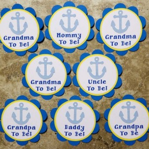 Anchor ocean theme button pins for Baby Shower or Birthday Party (Quantity 4)