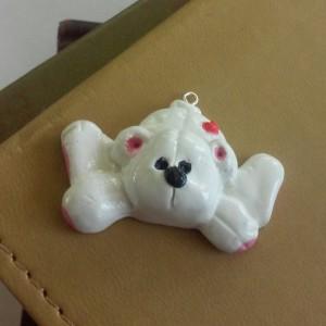 Polar Bear Polymer Clay Charm, Polar Bear Zipper Charm, Zipper Pull, Teddy Bear Charm, Teddy Bear Zipper Pull