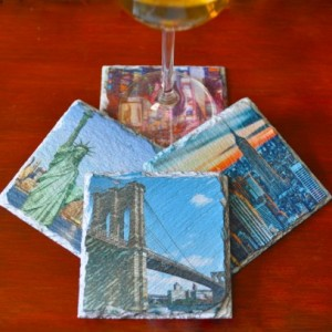 NYC Slate Coasters. Ideal for Wedding, Anniversary, Birthday, Christmas, Valentine's Day, New York City Coasters, Unique Gift. Handmade.