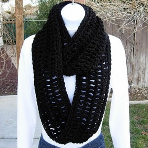 INFINITY SCARF Loop Cowl Solid Black Extra Soft Warm Bulky Crochet Knit Winter Circle Ring Eternity 100% Acrylic..Ready to Ship in 3 Days