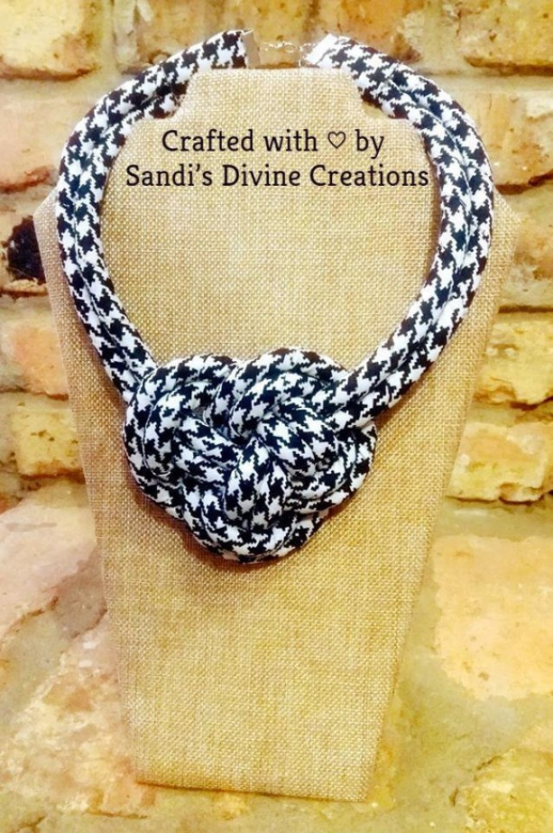 Houndstooth Necklace, Black Houndstooth Necklace, Fabric Necklace, Knot Necklace, Rope Necklace, Ankara Necklace, African Print Necklace