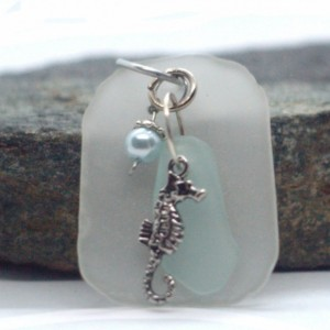"""Sea glass"" pendant with seahorse charm"