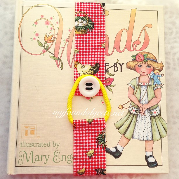 Bookmark, Red Gingham Farm Print & White Vintage Button