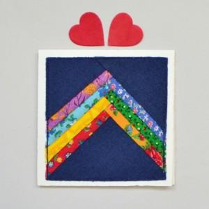 Rainbow patchwork card -- handmade fabric greeting card
