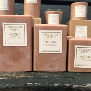 Mocha Candle. FREE SHIPPING. Scented Soy. Set of 3 Square Pillars.