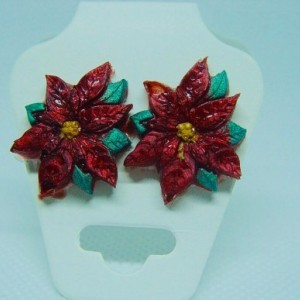 Red poinsettia pendant (chain not included) and studs or dangles, Christmas Jewelry, Christmas Pendant