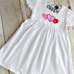 Valentines Day White Cotton Dress, Hearts, Monogrammed,Embroidered, Personalized, Appliqued