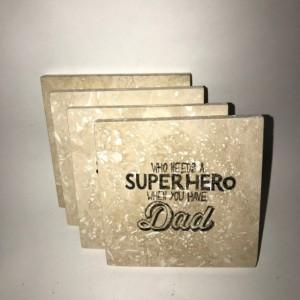 Custom Coasters-Non Stick Coasters-Personalized Coasters-Travertine Tile Coasters-Super Hero Dad Coasters-Barware-Gift Ideas-Housewarming