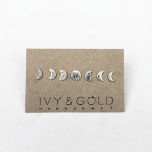 Sterling Silver Phases of the Moon Stud Earring Collection