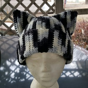 Cat Ears Beanie - Black and White