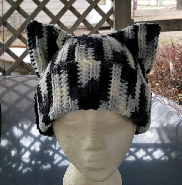 Cat Ears Beanie - Black and White