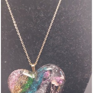 Glitter Heart Shape Pressed Flower Necklace In Gold Layered
