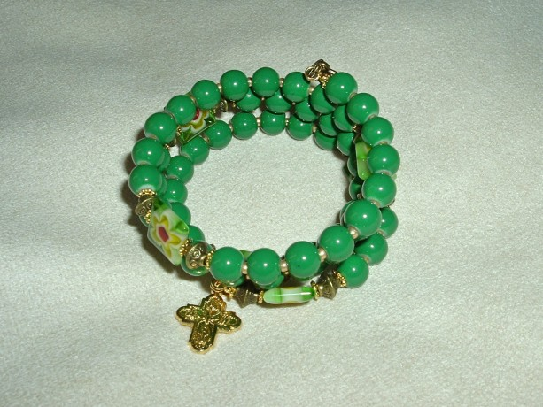 Rosary Bracelet of Green Glass Beads, Gold Findings