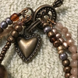 """Golden Bronze Triple Strand handmade beaded bracelet f7.5"""" long"""