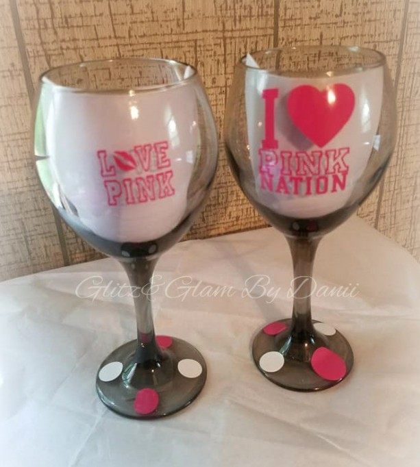 Victoria Secret I Love Pink Wine Glass Set 2pc Customized