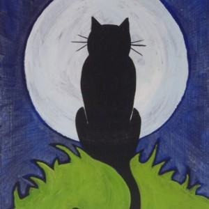 """Cat in the Moon"" original painting"