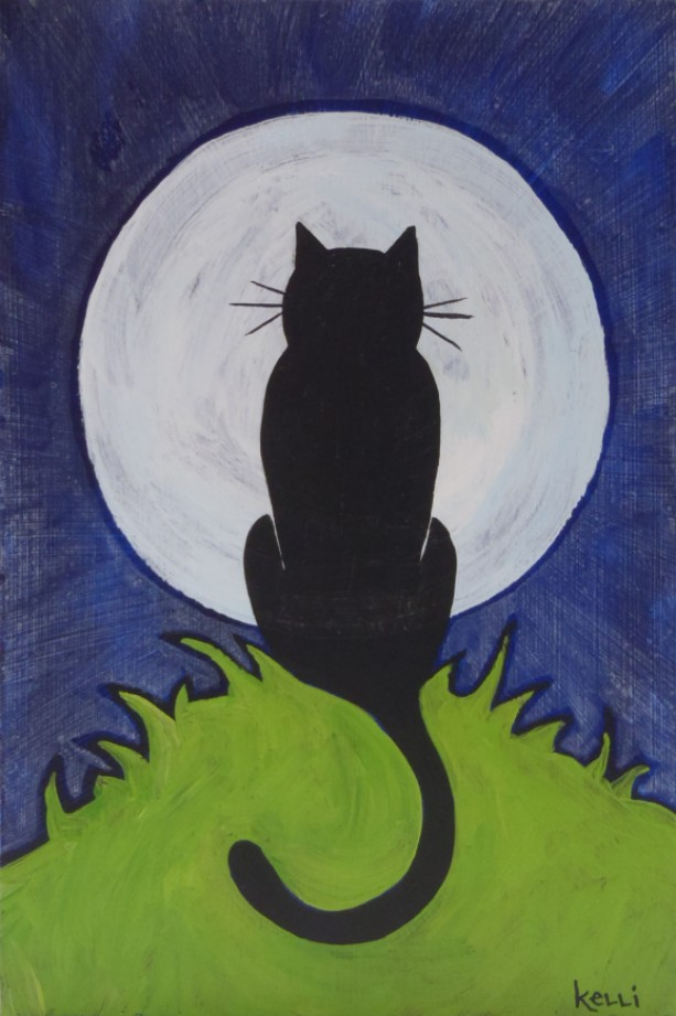 """Cat in the Moon"" original painting"