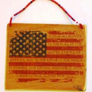 Atheism Patriotic handmade wooden decoration/sign with beaded hanger