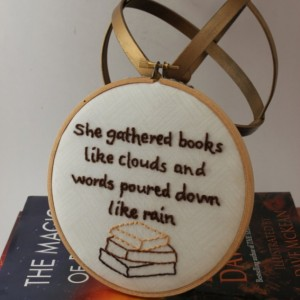 Beautiful Book Quote, Perfect for the Reader. Modern Embroidery Hoop Wall Hanging Decor.