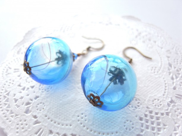 Earrings Blue and Aqua Color Hollow Glass Beads Handmade Summer Hand Blown Sea Beach Water Resort Ice Gradation Color Sea Jewelry Accessory