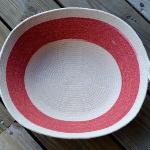 large red & white rope basket