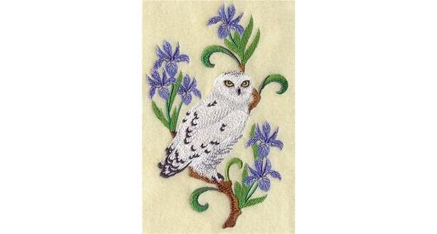 6 piece Bath Towel SET with Embroidered Snowy OWL & iris designs