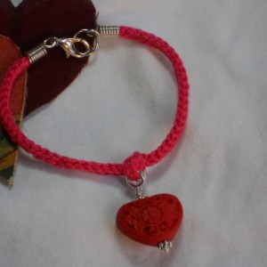 I'm Knots About You - Pink Cotton Hand Crocheted Valentines Bracelet with Red Cinnabar Carved Heart #B00142