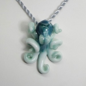 The Winter Sky Kracken Collectible Wearable  Boro Glass Octopus Necklace / Sculpture Made to Order