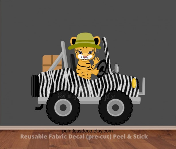 Tiger driving Safari Jeep with Zebra Prints Wall Decal