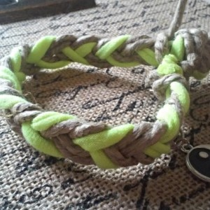 Thick Braided Neon T-Shirt Hemp Peace Bracelet