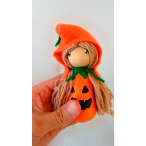 Halloween - Pumpkin gnome dolls - Pumpkin doll - Fall gnome - Halloween gift - Halloween desk decor - Halloween peg dolls - Peg people - toy
