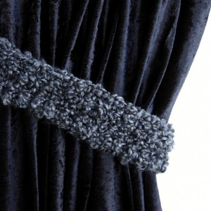 Black & Dark Gray Curtain Tiebacks, One Pair of Soft Thick Tie Backs, Drapery Drapes Holders, Fluffy Soft Crochet Knit, Simple, Customizable, Ships in 3 Business Days