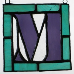 """4"""" x 4"""" Capital Letter Stained Glass Hanging"""