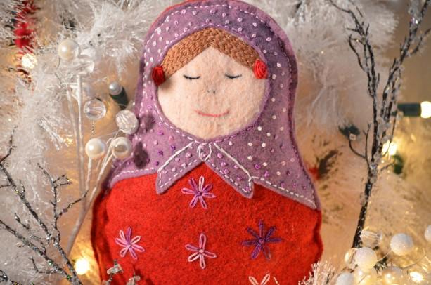 Babushka Russian Felt Doll Natural Play Toys Decor