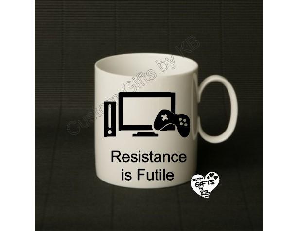 Resistance is Futile Mug, Christmas Gift, Anniversary, Birthday Gift, Star Trek, Spock, Xbox, Gaming, Gaming Mug, PS4, WiiU, Xbox One