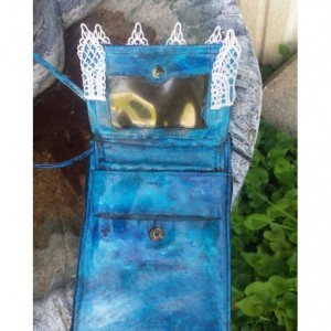Hand painted OoaK Upcycled Crossbody Travel Wallet Purse