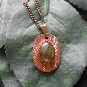 Simply Dainty Labradorite and Copper Pendant