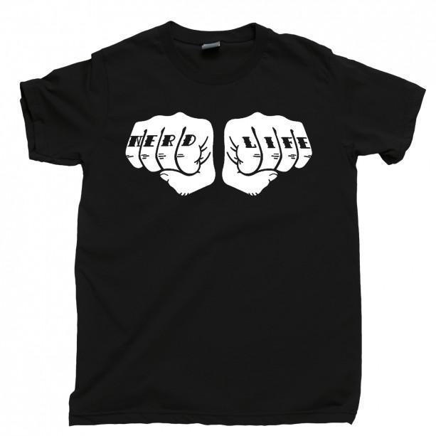 Nerd Life Men's T Shirt, Geek Movies Geekery Comics Manga Anime Video Games Fangirl Fanboy Unisex Cotton Tee Shirt