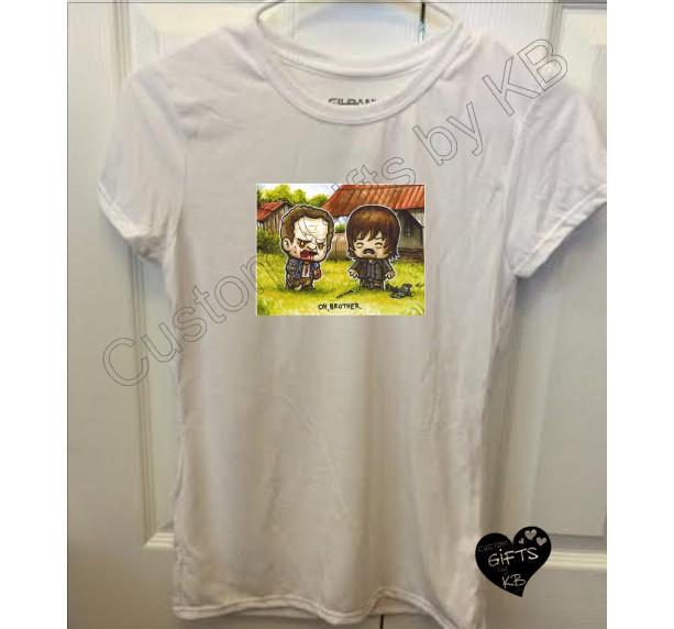 98c7172c2 ... Graphic The Walking Dead Brothers white tshirt, Custom T shirt, Oh Brother  Tshirt, ...