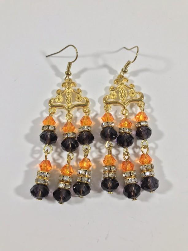 Black & Orange bead earring