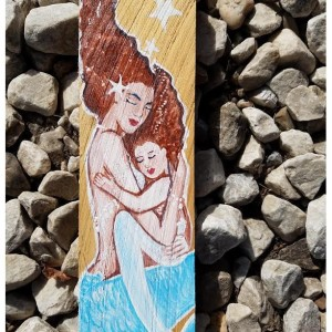 Mermaid and Baby Hand Painted Original Art on Recycled Cedar Panel- Rustic beach House Decor