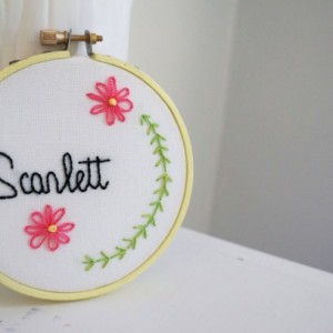 Personalized Baby's Name Embroidery Hoop Art Nursery Decor, Daisy Art, Gift for Baby, Custom Baby's Name Sign, Custom Baby Shower Gift