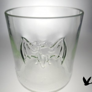 Bacardi Rum bottle Upcycled  Bat Old Fashion Glasses, Set of 2