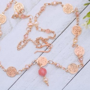 Coral Necklace, Freshwater Pearl Necklace, Quartz Necklace, Gemstone Necklace, Rose Gold