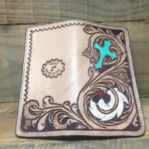 Feather and Cross Long western wallet